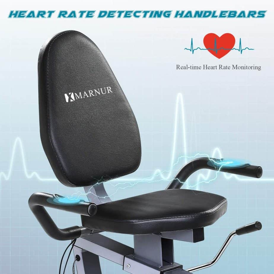The seat of the Marnur Recumbent Exercise Bike