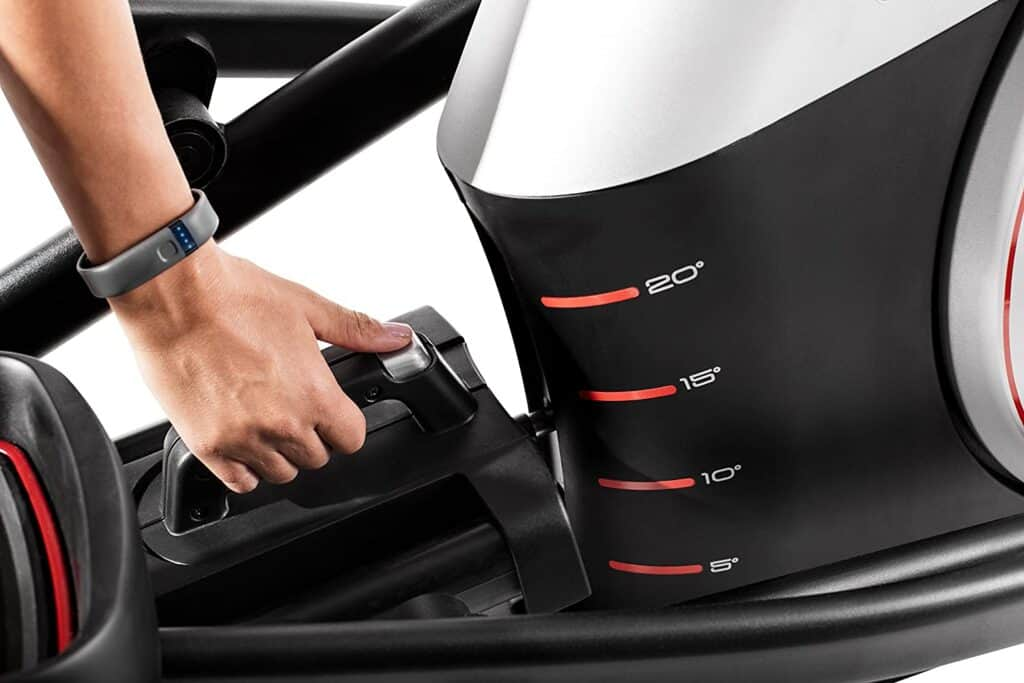 The incline of the ProForm Endurance 520 E Elliptical Trainer