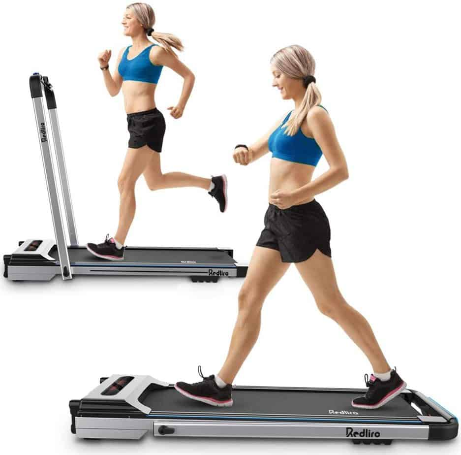 The Redliro Under Desk 2-in-1 Treadmill is being used by a lady
