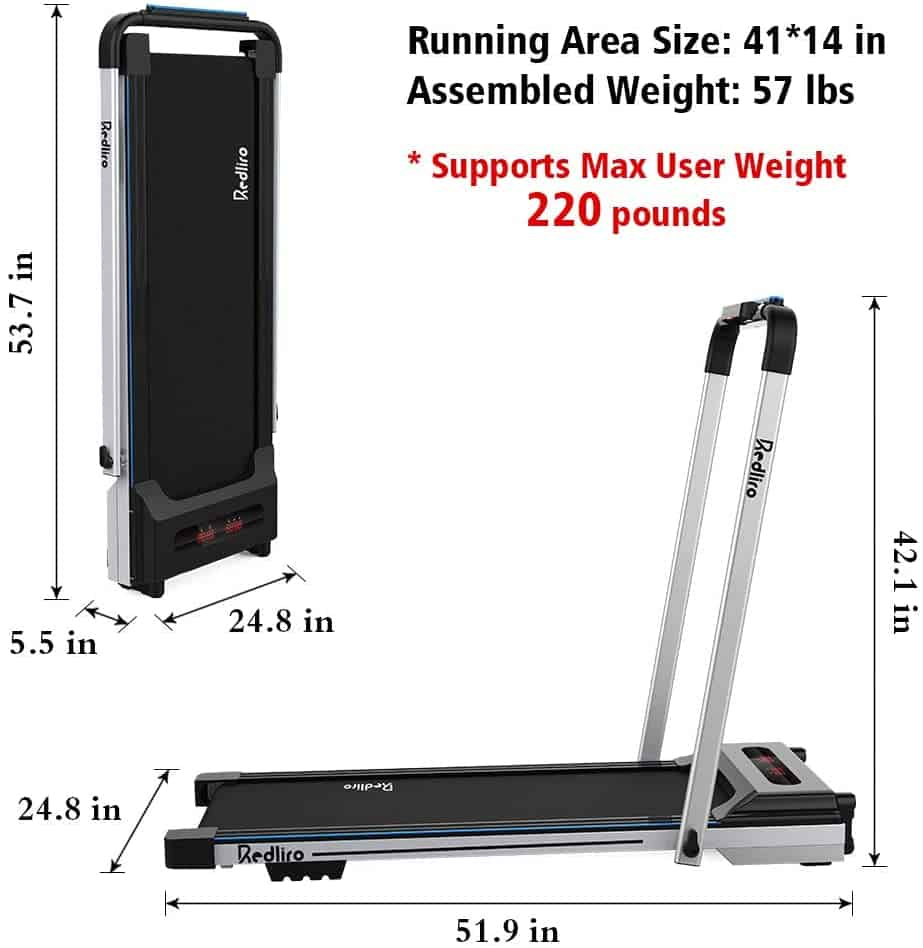 The fully assembled version of the Redliro Under Desk 2-in-1 Treadmill and the folded version