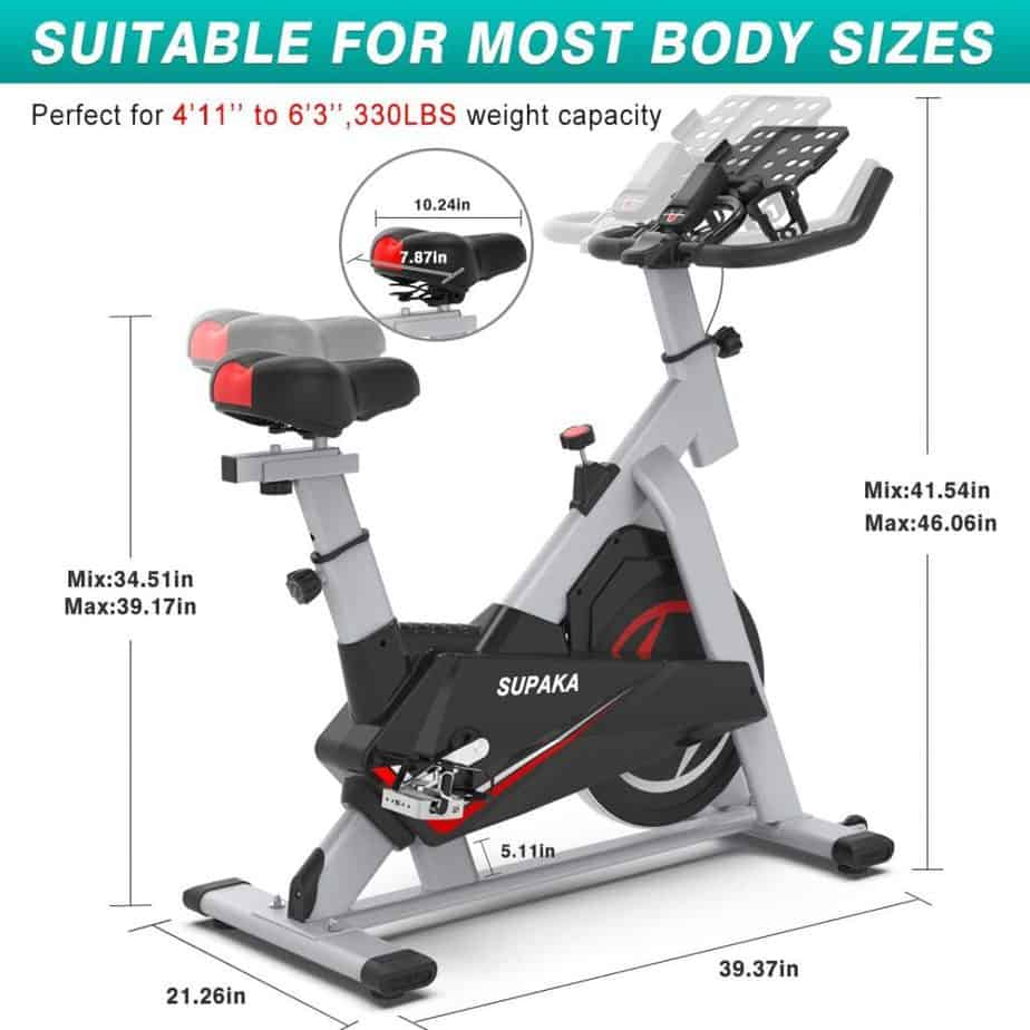 The adjustable seat and handlebar of the SUPAKA Indoor Magnetic Spin Bike