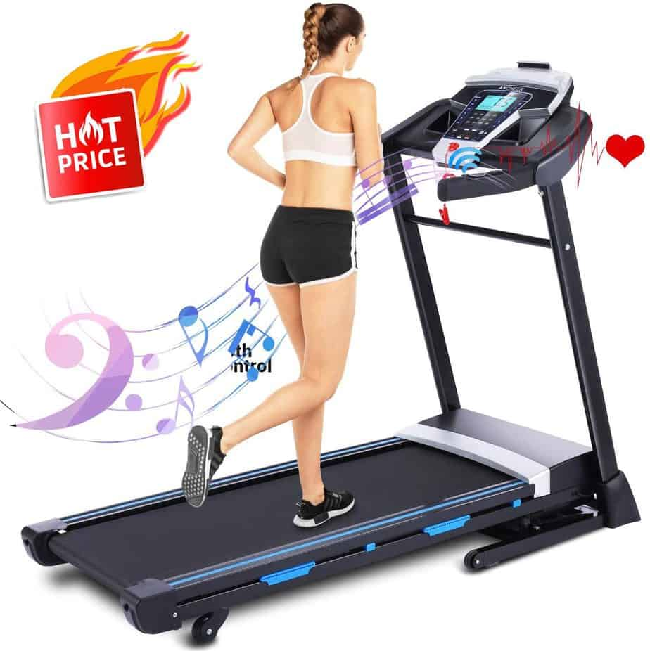 A lady jogs on the FUNMILY 3.25 HP Model T900 Folding Treadmill