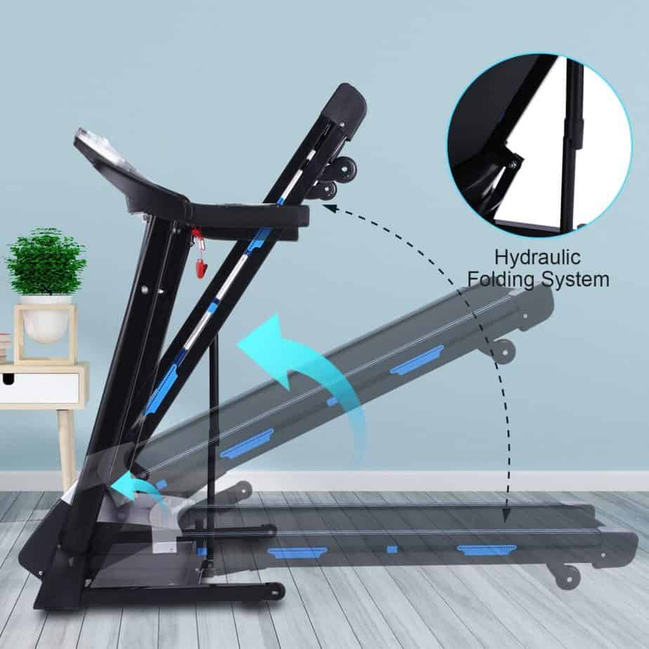 The hydraulic folding system of the FUNMILY 3.25 HP Model T900 Folding Treadmill