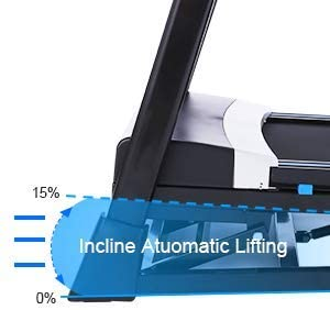 The incline of the FUNMILY 3.25 HP Model T900 Folding Treadmill