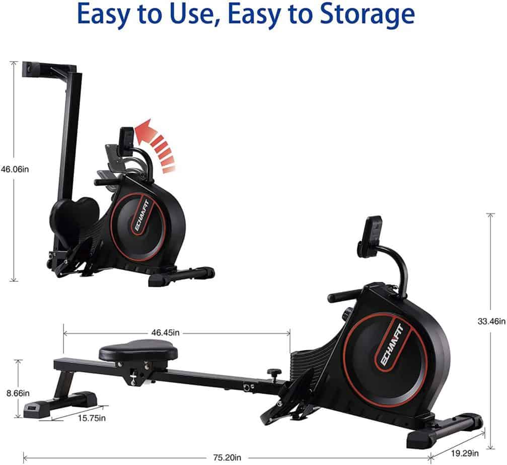 The folded and unfolded ECHANFIT CRW 4901 Magnetic Rowing Machine