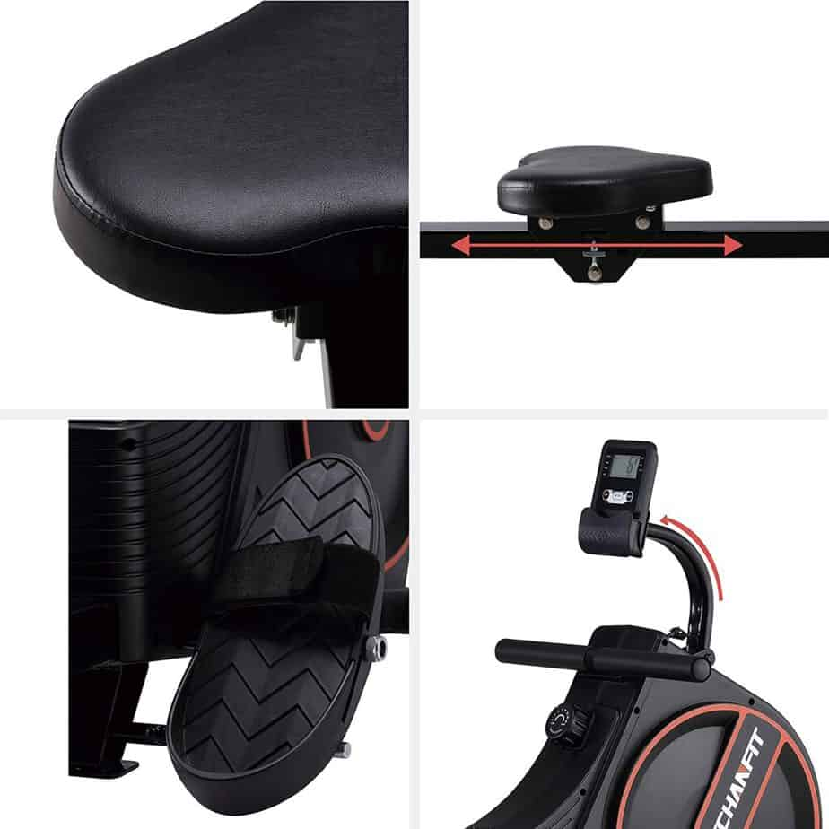 The seat, pedal, handlbar, and the monitor of the ECHANFIT CRW 4901 Magnetic Rowing Machine