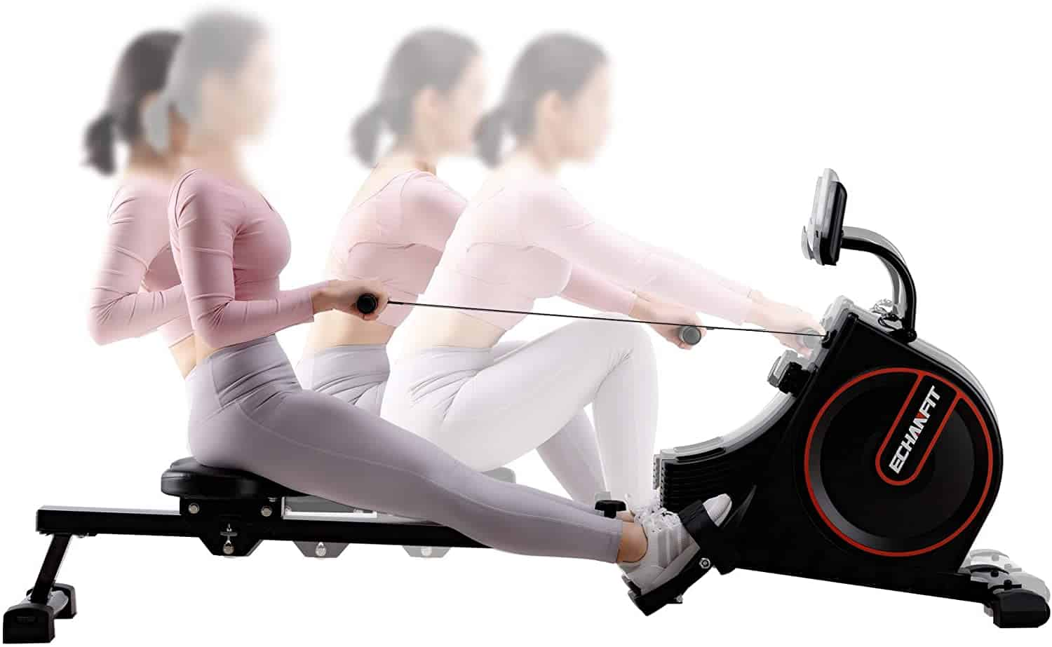 Lady rowing on the ECHANFIT CRW 4901 Magnetic Rowing Machine