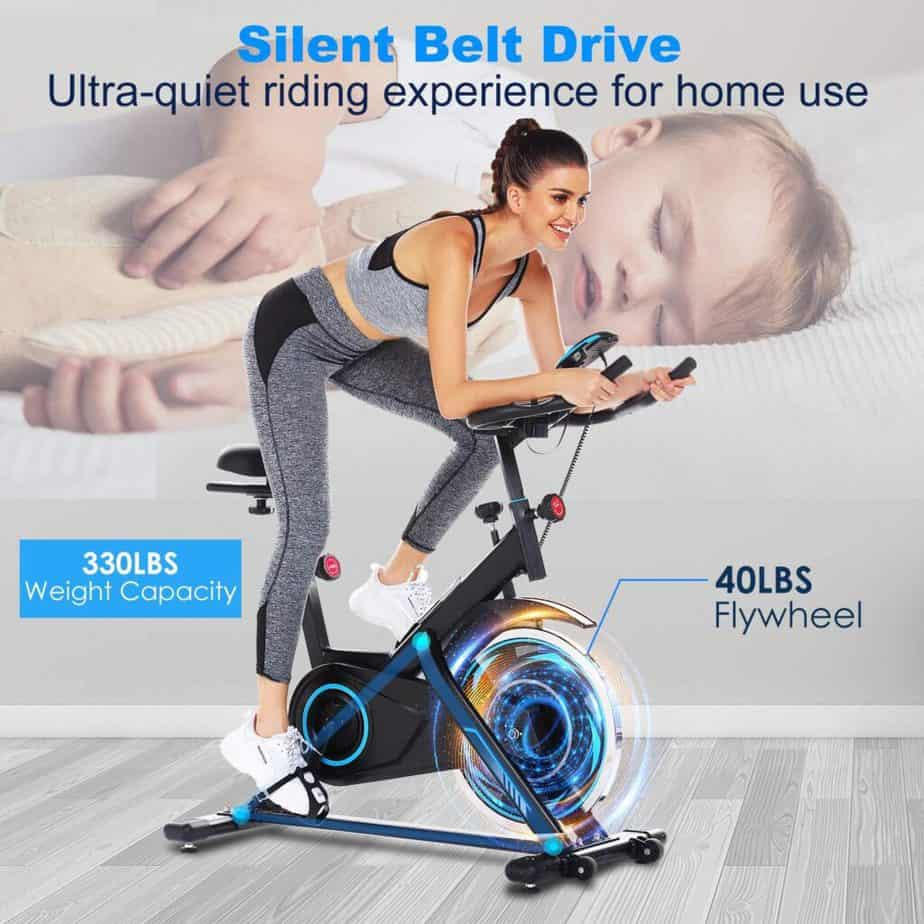 A lady rides the FUNMILY Indoor Stationary Exercise Bike