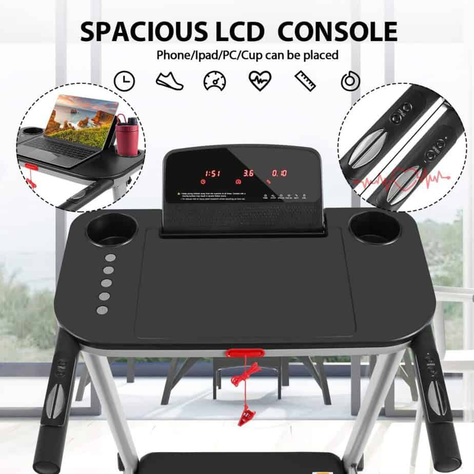 The console and the table stand of the FUNMILY 2.25 HP Electric Folding Treadmill