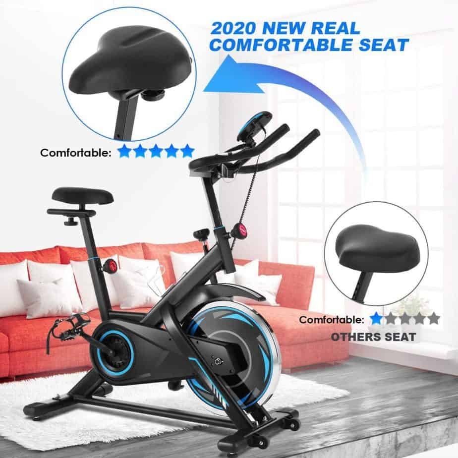 The padded seat of theFUNMILY Indoor Stationary Exercise Bike