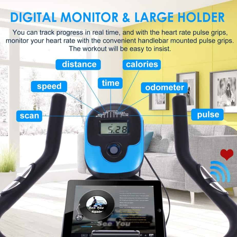 The console and the handlebar of the FUNMILY Indoor Stationary Exercise Bike
