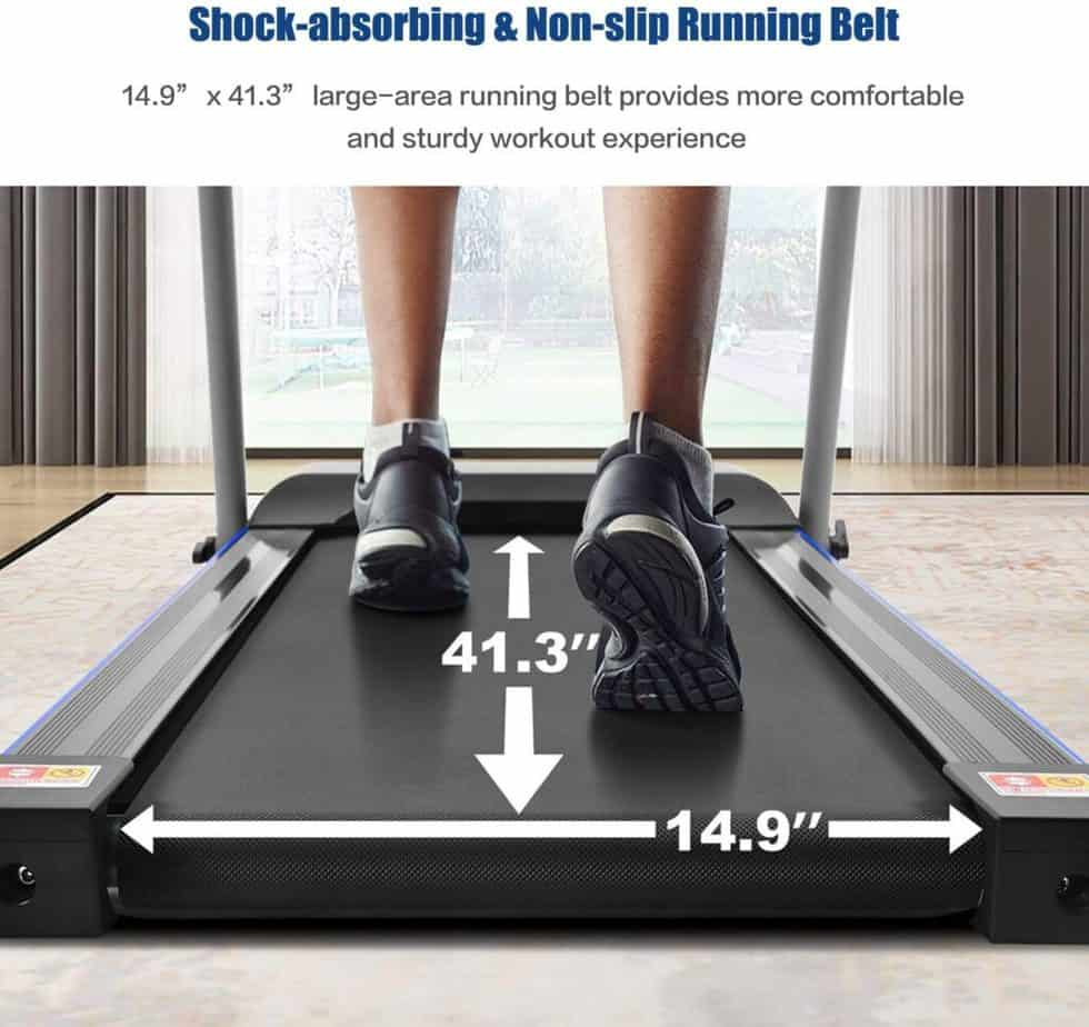 The running surface of the FYC JK1608E-1 Folding Compact Home Treadmill