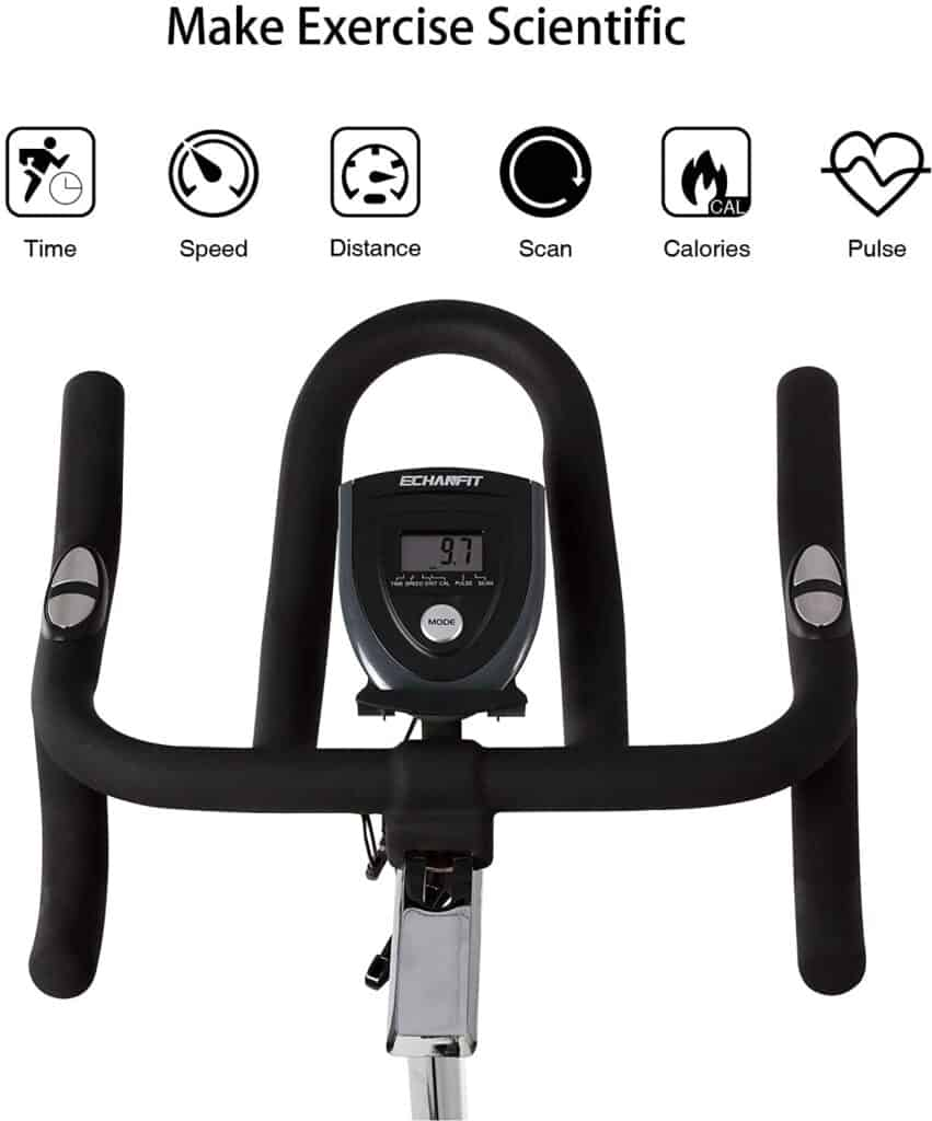 The handlebar and the console of the ECHANFIT CBK 1901P Magnetic Exercise Bike