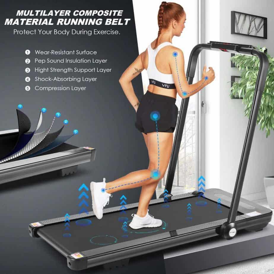 A user jogs on the FUNMILY 2 in 1 Folding Under-Desk Treadmill