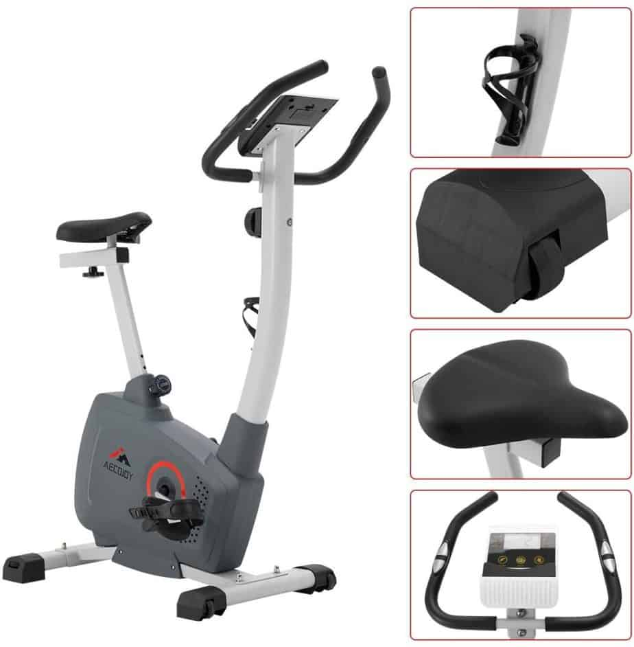 The water bottle holder, transport wheel, seat, the console, and the handlebar of the AECOJOY Upright Magnetic Exercise Bike