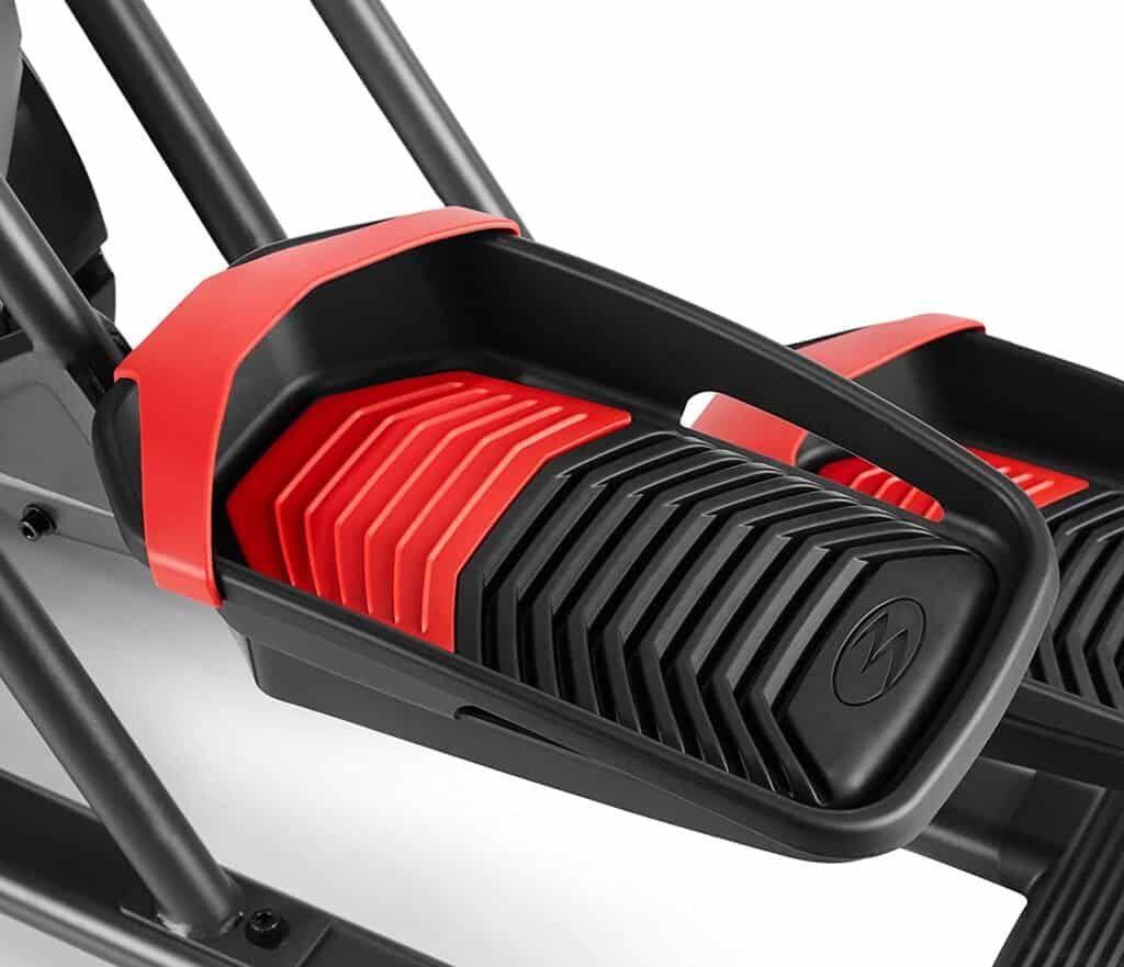 The large, cushioned. and textured pedal of the Bowflex Max Trainer M5