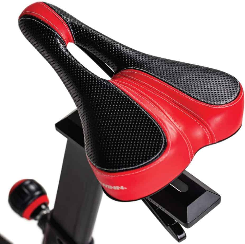 The seat of the Schwinn IC4 Indoor Cycling Exercise Bike