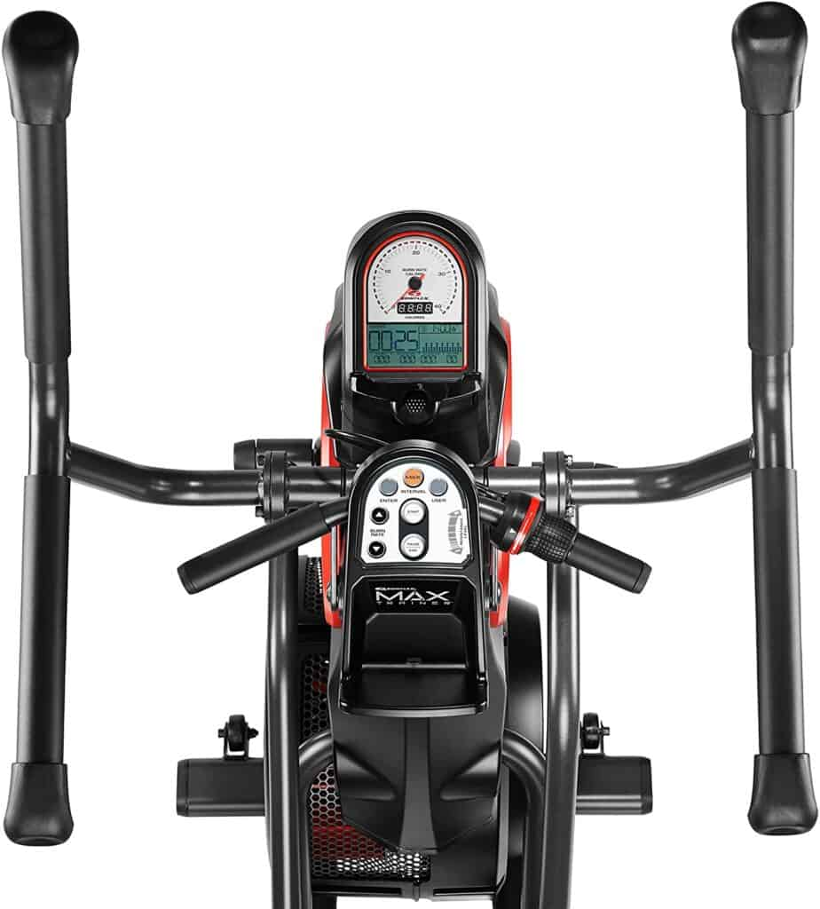 The handlebars, and the console of the Bowflex Max Trainer M3