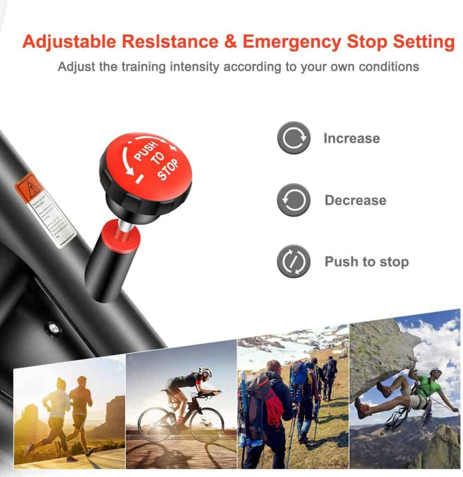 The resistance control knnob of the RELIFE REBUILD YOUR LIFE Indoor Cycling Bike