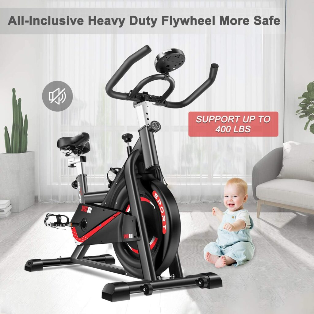 The RELIFE REBUILD YOUR LIFE Indoor Cycling Bike operates safely around children