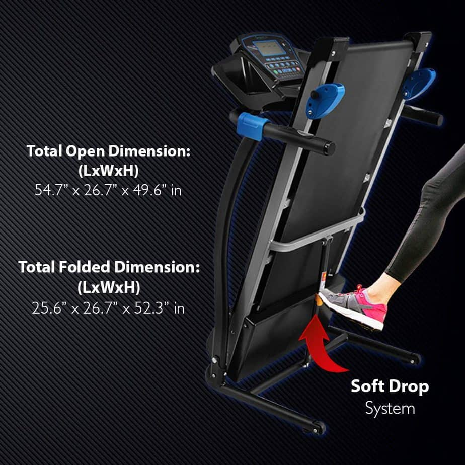 Folded SereneLife SLFTRD25 Smart Folding Treadmill