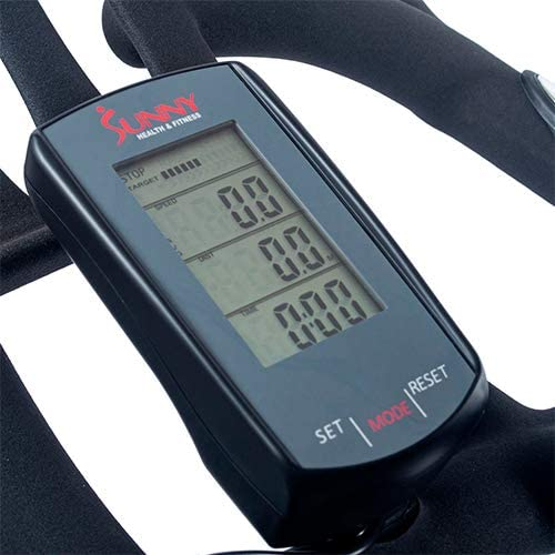 The console of the  Sunny Health & Fitness SF-B1851 Synergy Pro Indoor Cycling Bike
