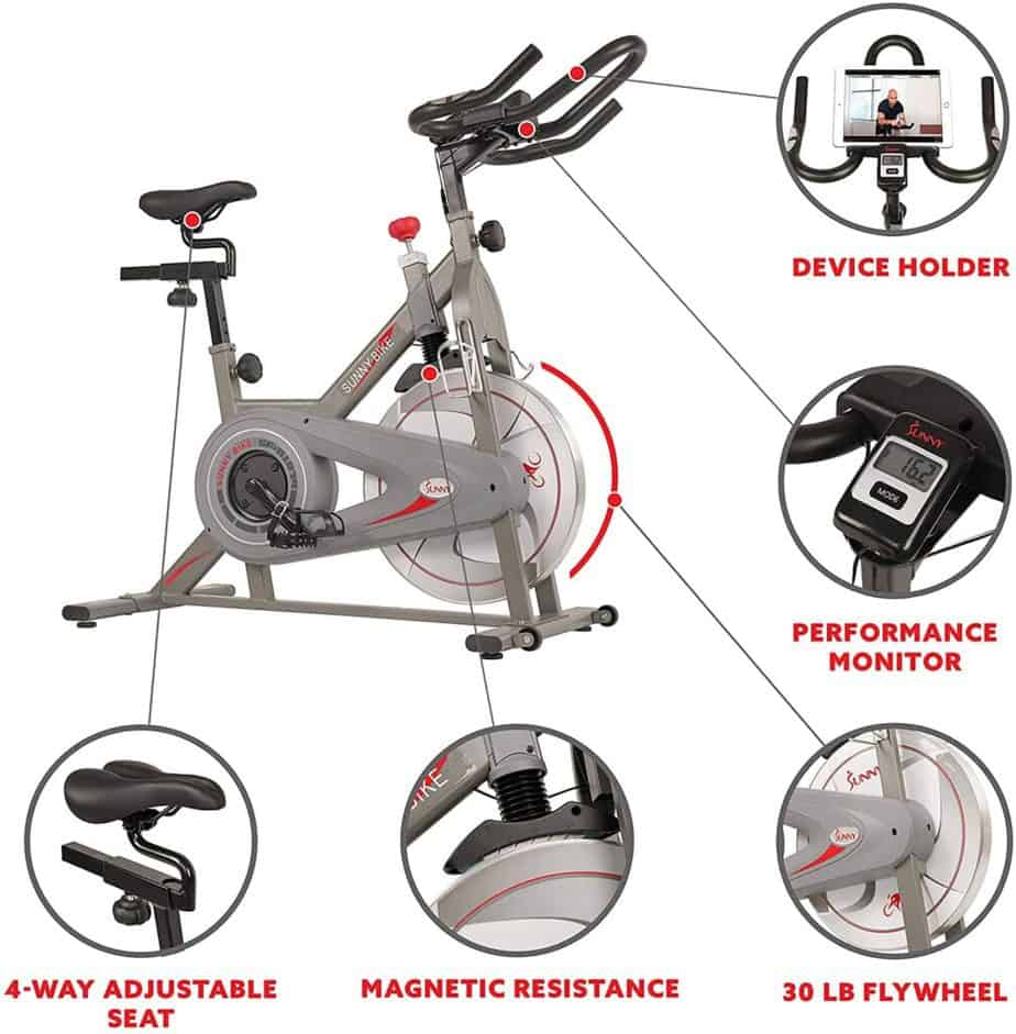 The 4-way adjustable seat, tablet holder, handlebar, 30 lbs./14 kg flywheel, the LCD monitor, and magnetic resistance system of the Sunny Health & Fitness Synergy SF-B1879 Indoor Cycling Bike