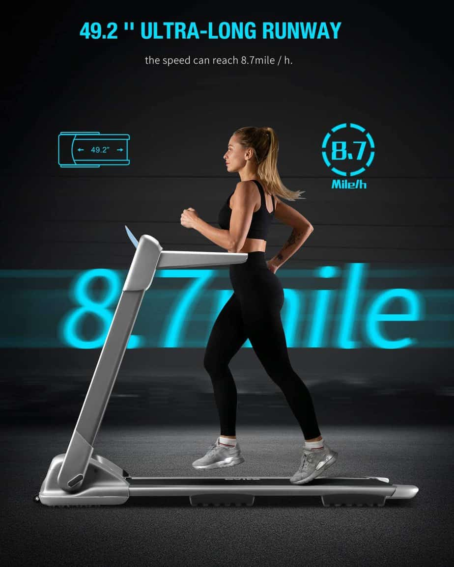 A lady jogs on the WEKEEP OVICX Q2S Folding Portable Treadmill