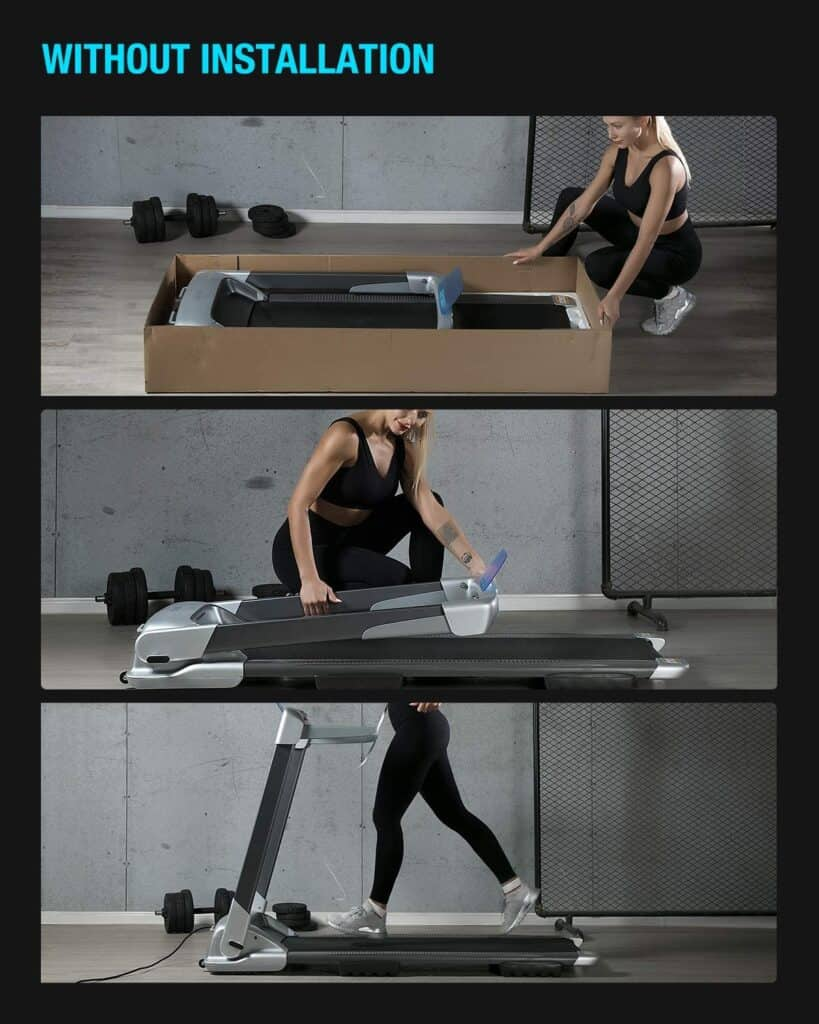A lady unpacks the WEKEEP OVICX Q2S Folding Portable Treadmill