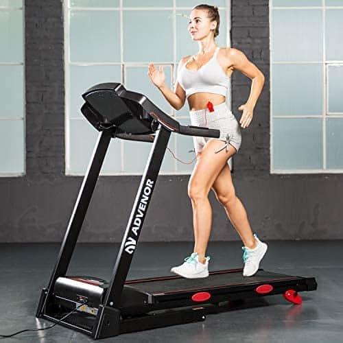 A lady jogs on the Advenor 3.0 HP Motor Folding Treadmill