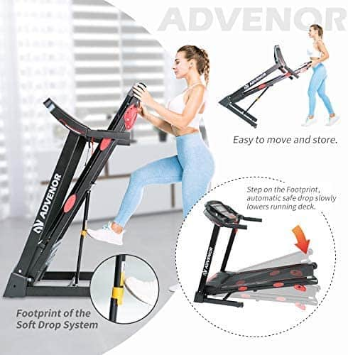 A user folds and moves the Advenor 3.0 HP Motor Folding Treadmill for storage