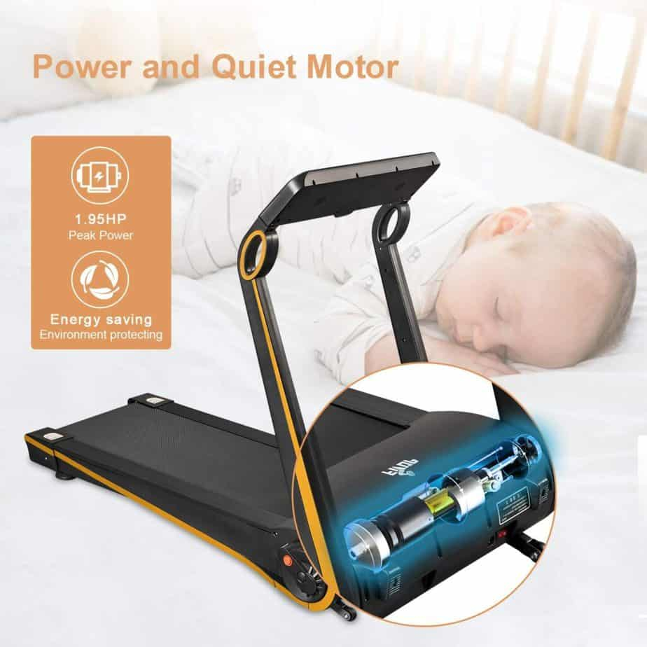The energy-efficient, and silent 1.95 horsepower motor of the Fisup Foldable Smart Home & Office Treadmill
