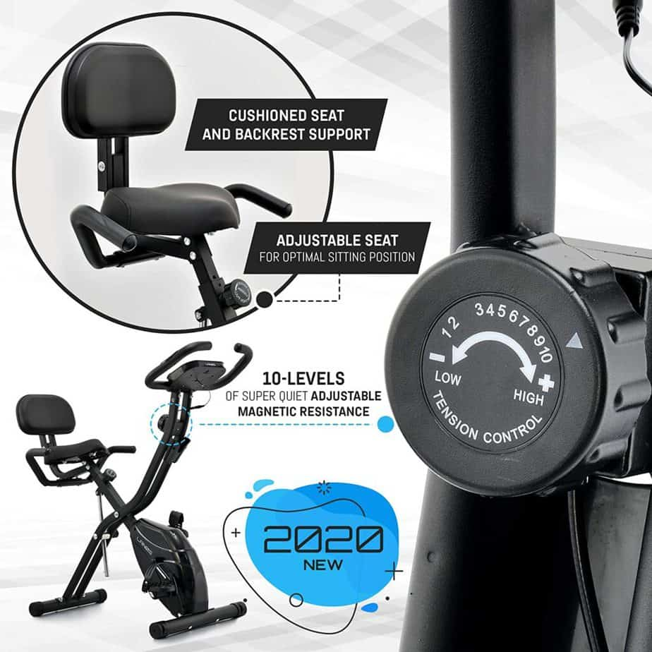 The seat, and the tension control knob of the Lenos Semi-Recumbent 3-in-1 Folding Indoor Exercise Bike