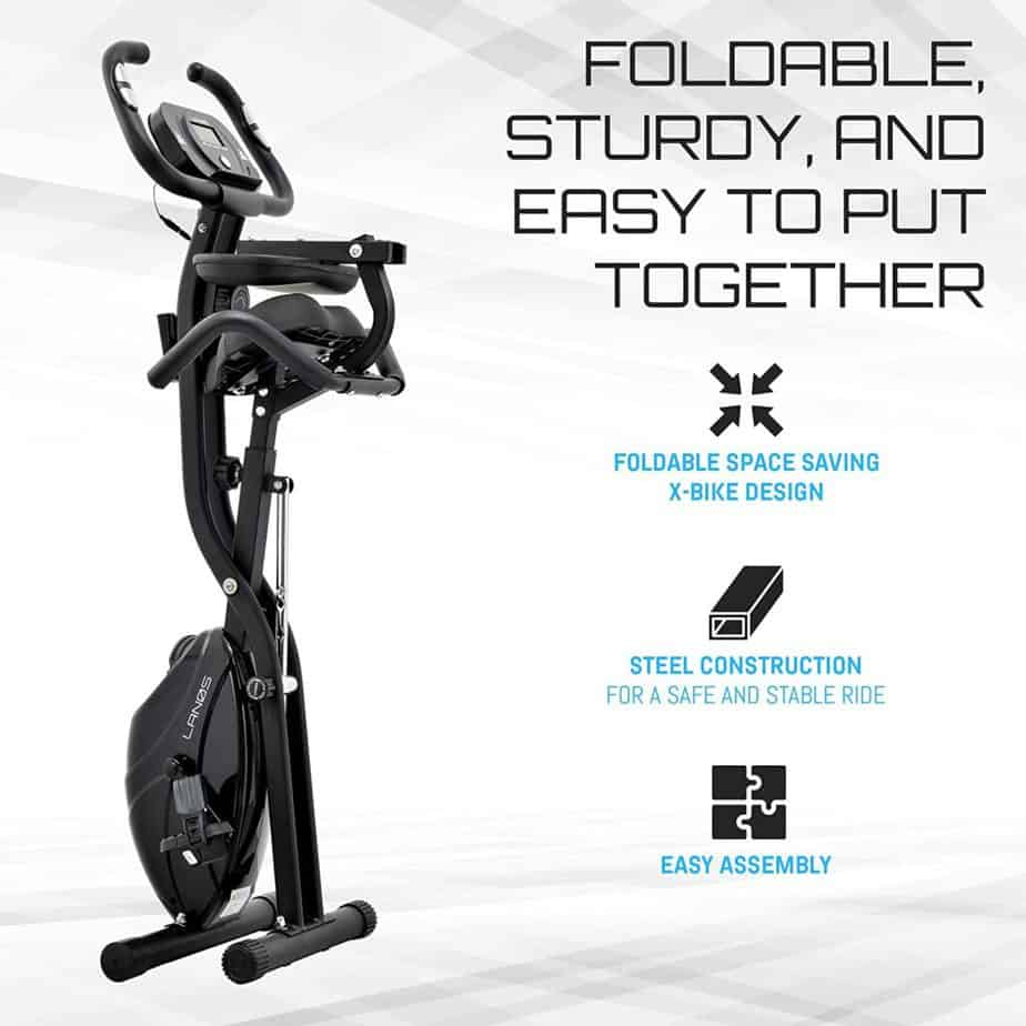 The Lenos Semi-Recumbent 3-in-1 Folding Indoor Exercise Bike is folded for storage