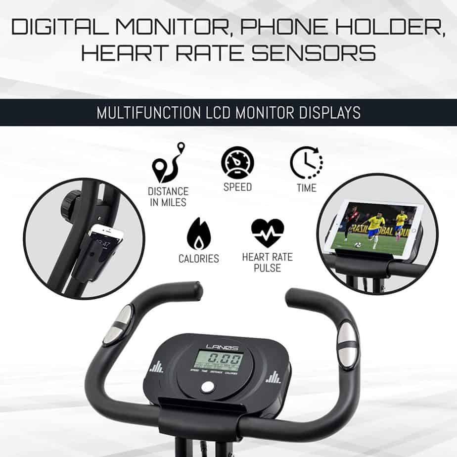 The console, handlebar, and the tablet holders of the Lenos Semi-Recumbent 3-in-1 Folding Indoor Exercise Bike