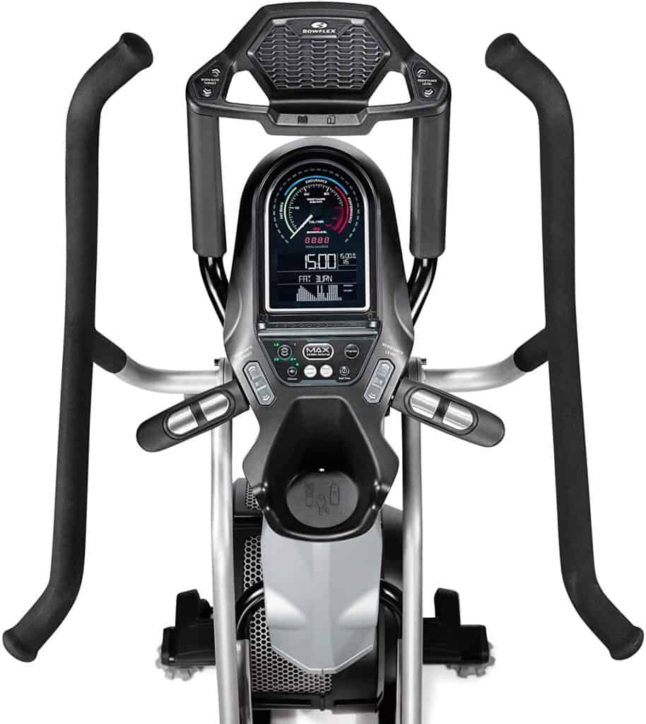 The console,handlebars, and the tablet and water bottle holders of the Bowflex Max Trainer M7