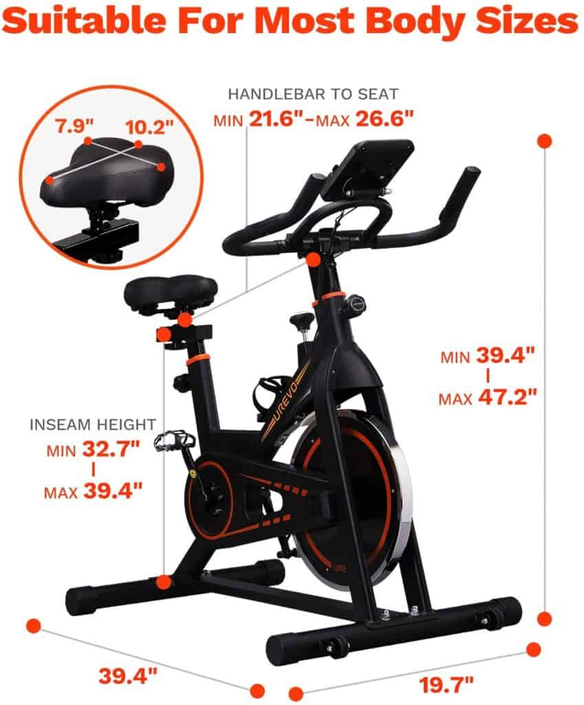 The 4-way adjustable cushioned and comfortable seat of the UREVO Belt Drive Indoor Cycling Bike