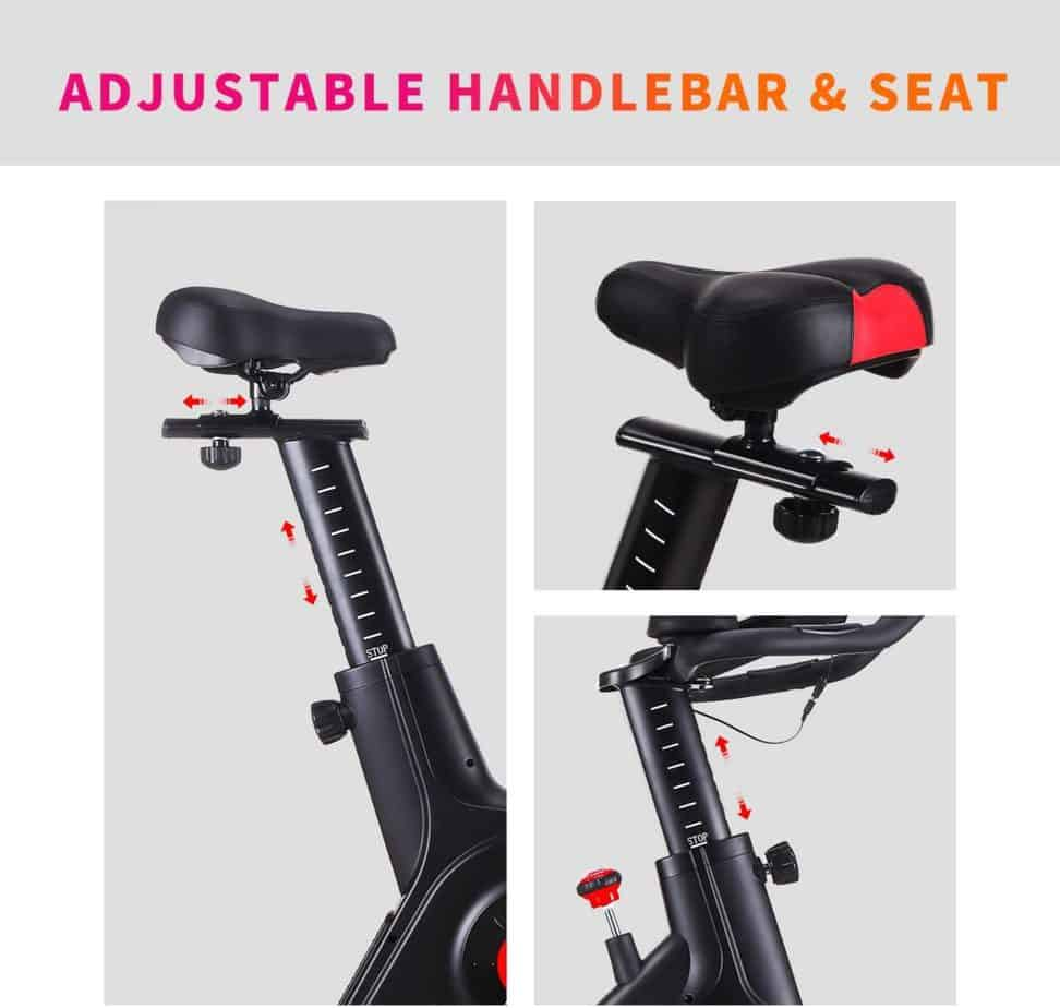 The adjustable seat and handlebar of the CHAOKE 8705 Indoor Belt Magnetic Exercise Bike