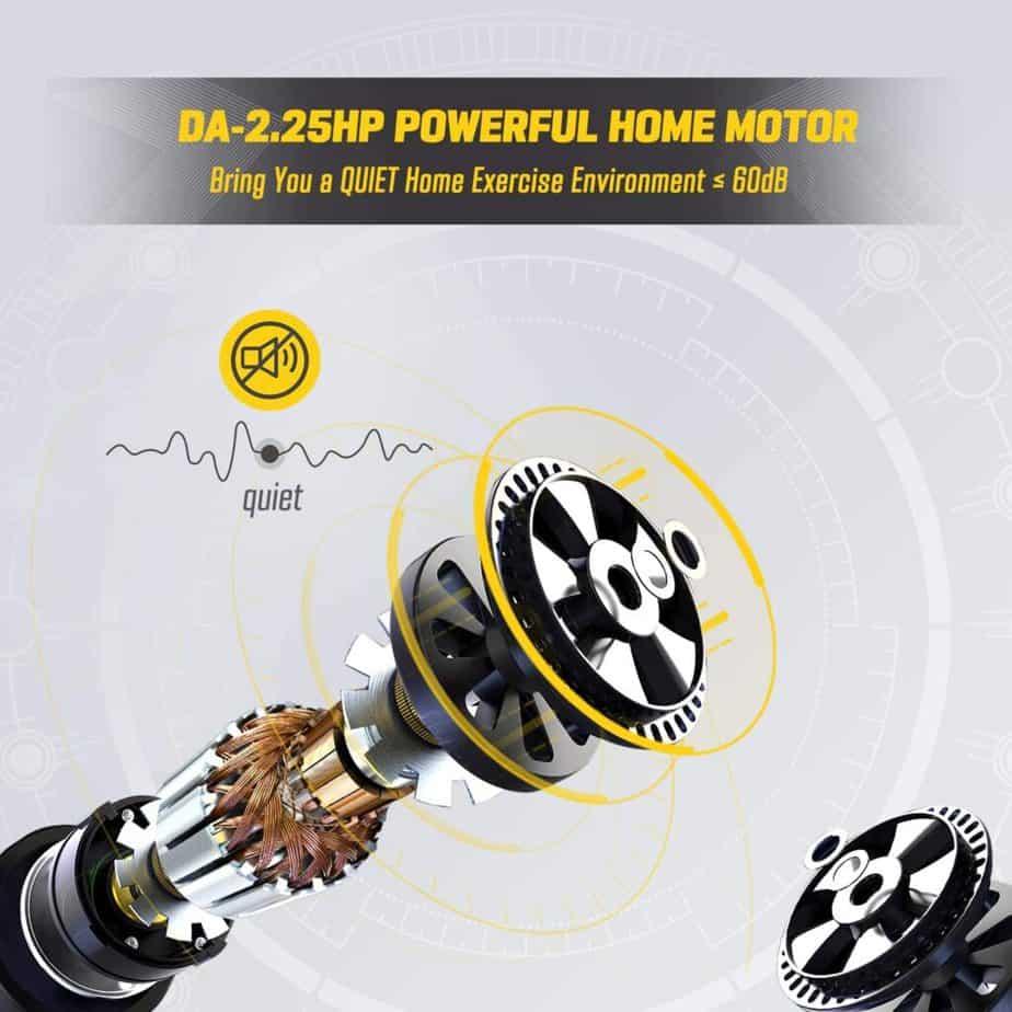 The powerful motor of the OMA 5105EB 2.25 HP Folding Treadmill