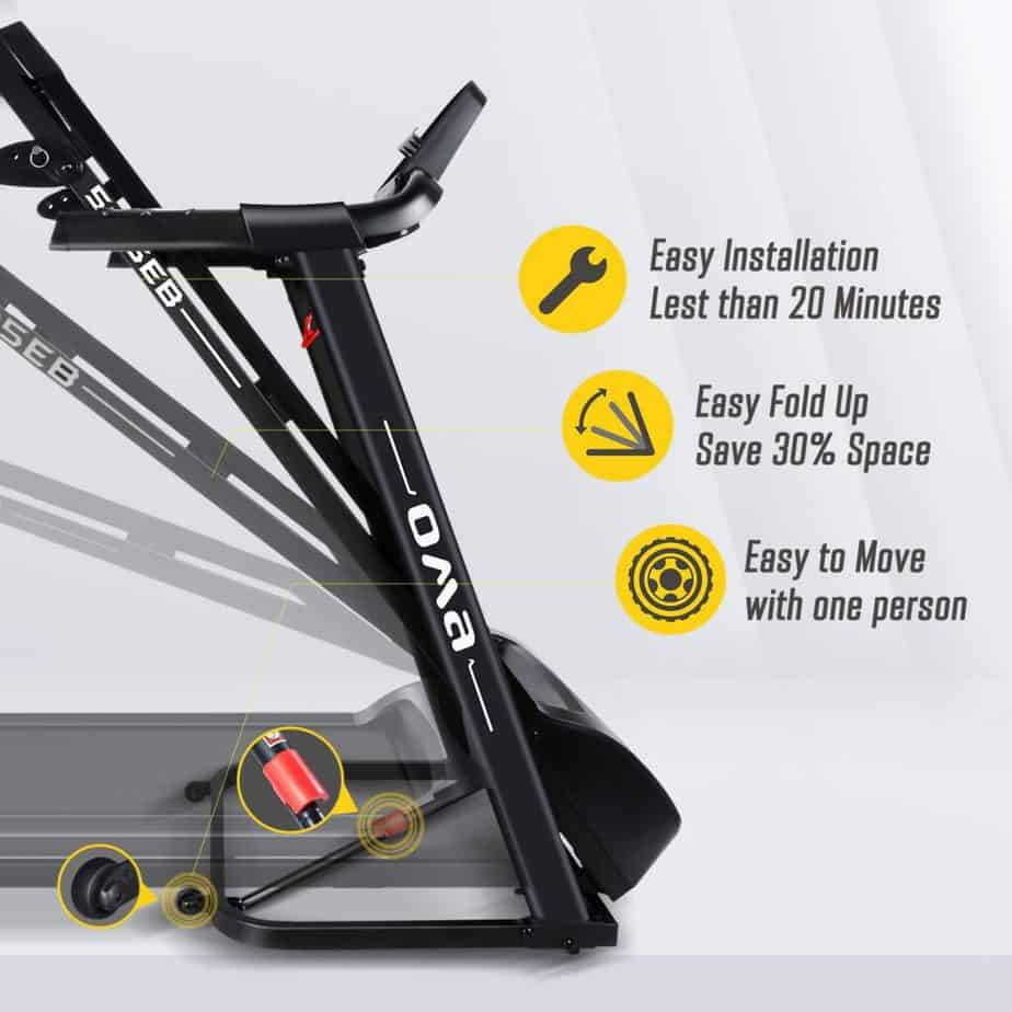 The OMA 5105EB 2.25 HP Folding Treadmill  is folded up for storage