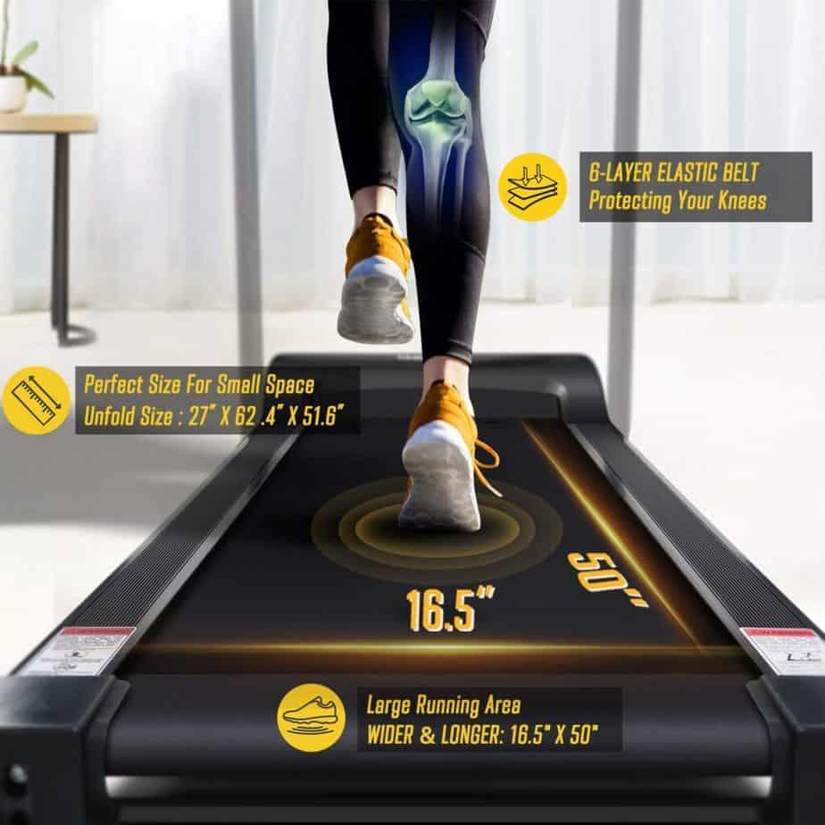The deck of the OMA 5105EB 2.25 HP Folding Treadmill