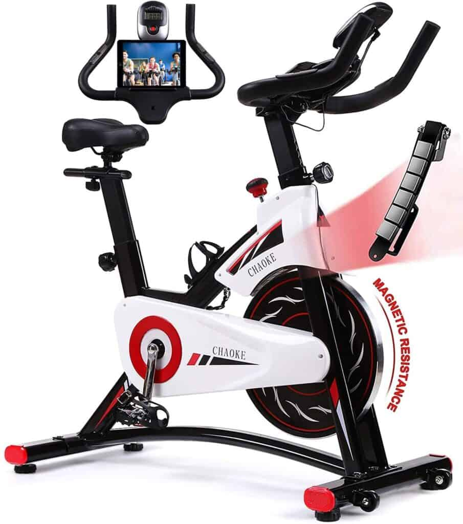 CHAOKE 8733 Indoor magnetic Exercise Bike with a tablet device on the holder