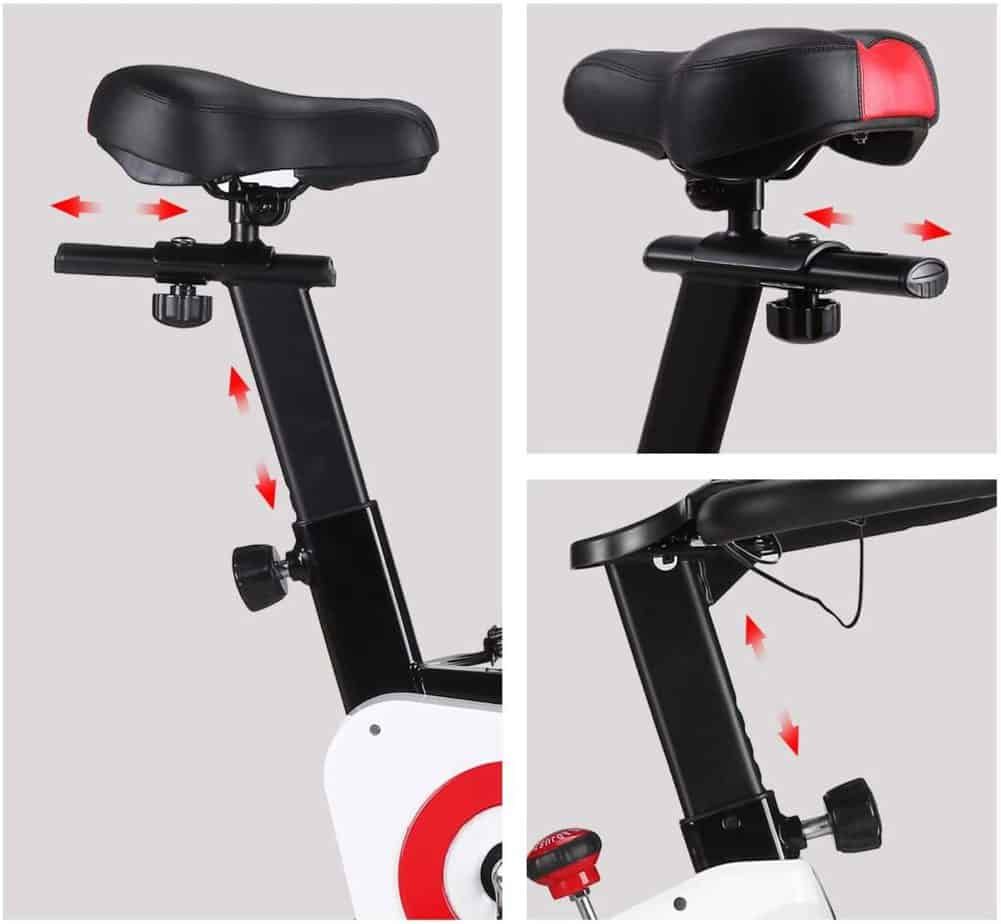 The seat and the handlebar of the CHAOKE 8733 Indoor magnetic Exercise Bike