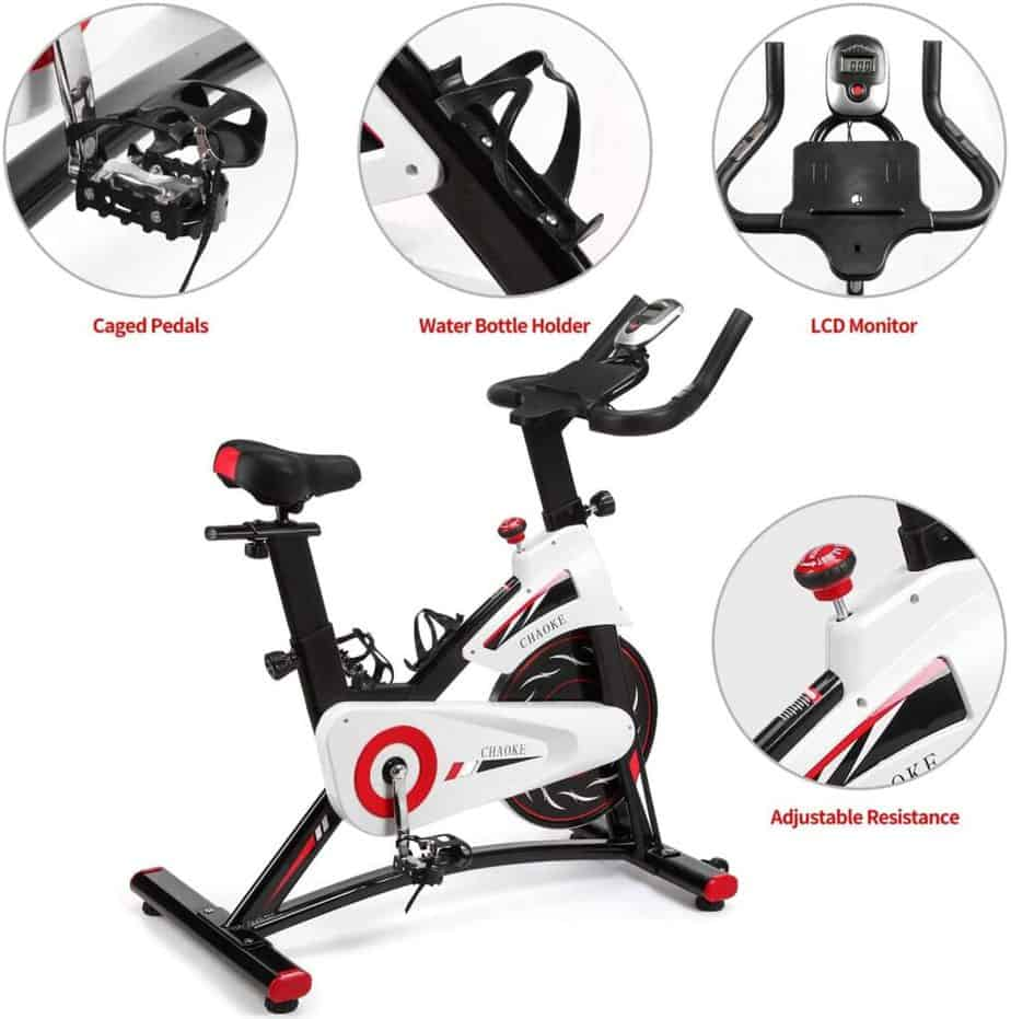 The toe caged pedals, water bottle holder, handlebar with console, and tension knob of the CHAOKE 8733 Indoor magnetic Exercise Bike