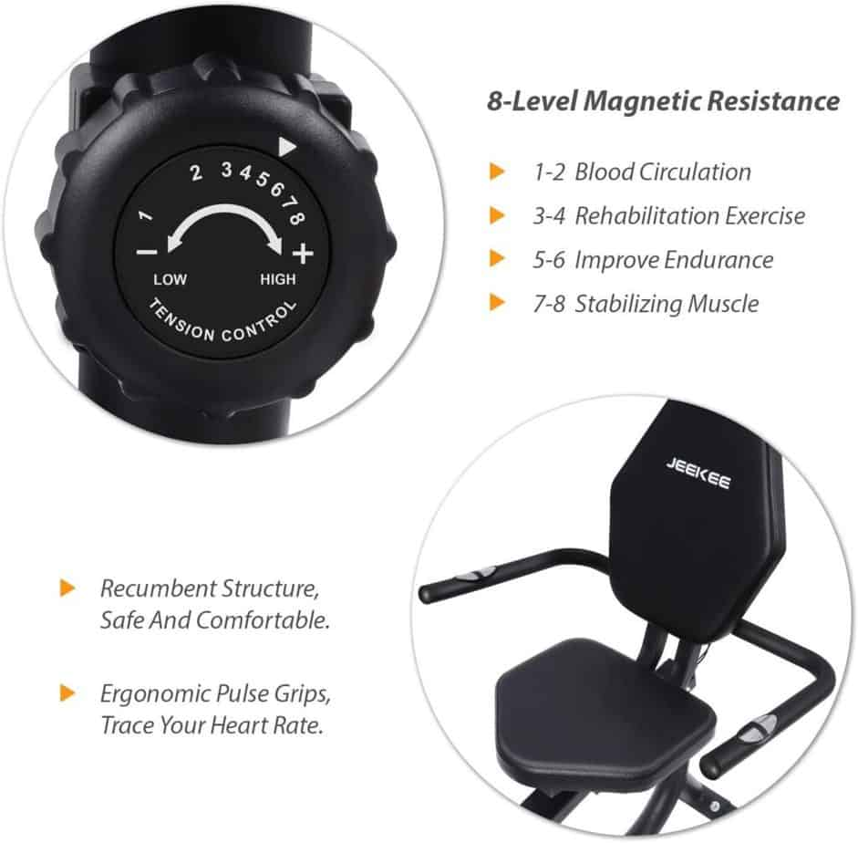 The seat and the tension control knob of the JEEKEE Magnetic Recumbent Exercise Bike