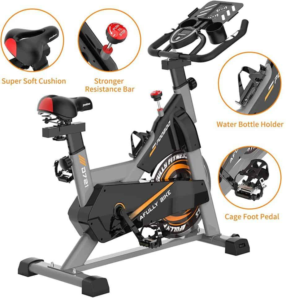 The seat, tension knb, water bottle holder, and the pedal of the Pooboo S2 D721 Indoor Cycling Bike