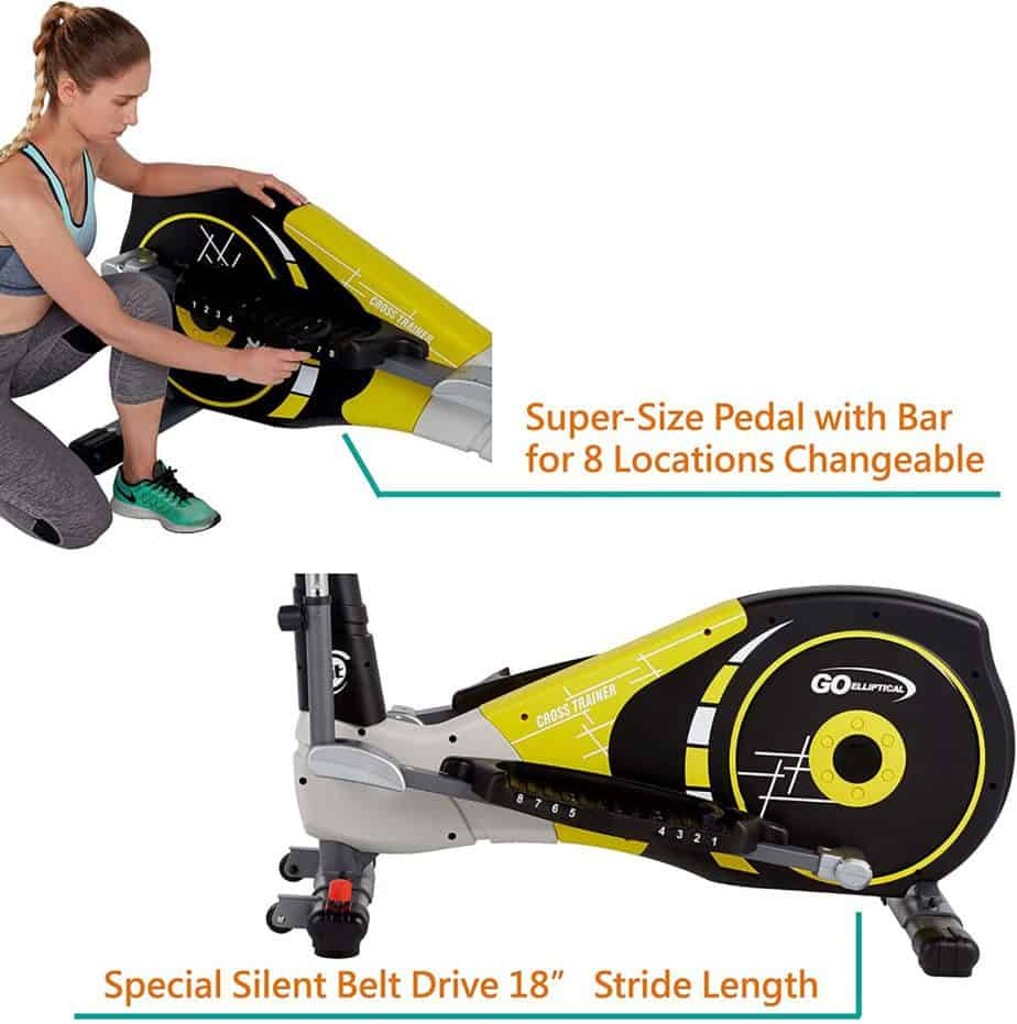 A user adjusts the pedals of the GOELLIPTICAL V-600X Elliptical Cross Trainer