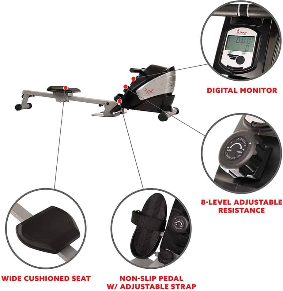 The console, the resistance control knob, the seat, and the pedals of the Sunny Health & Fitness SF-RW5622 Magnetic Rowing Machine