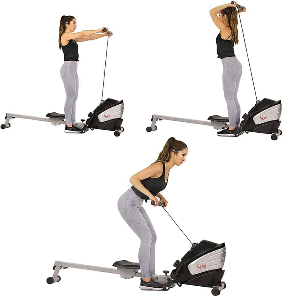 The Sunny Health & Fitness SF-RW5622 Magnetic Rowing Machine is used for resistance exercises by a lady