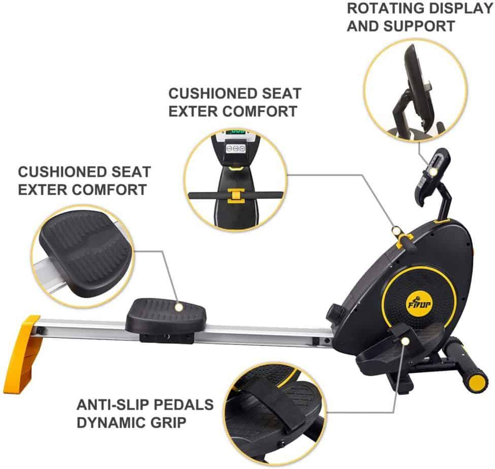 The seat, the handlebar, and the pedals of the FISUP Indoor Magnetic Rowing Machine